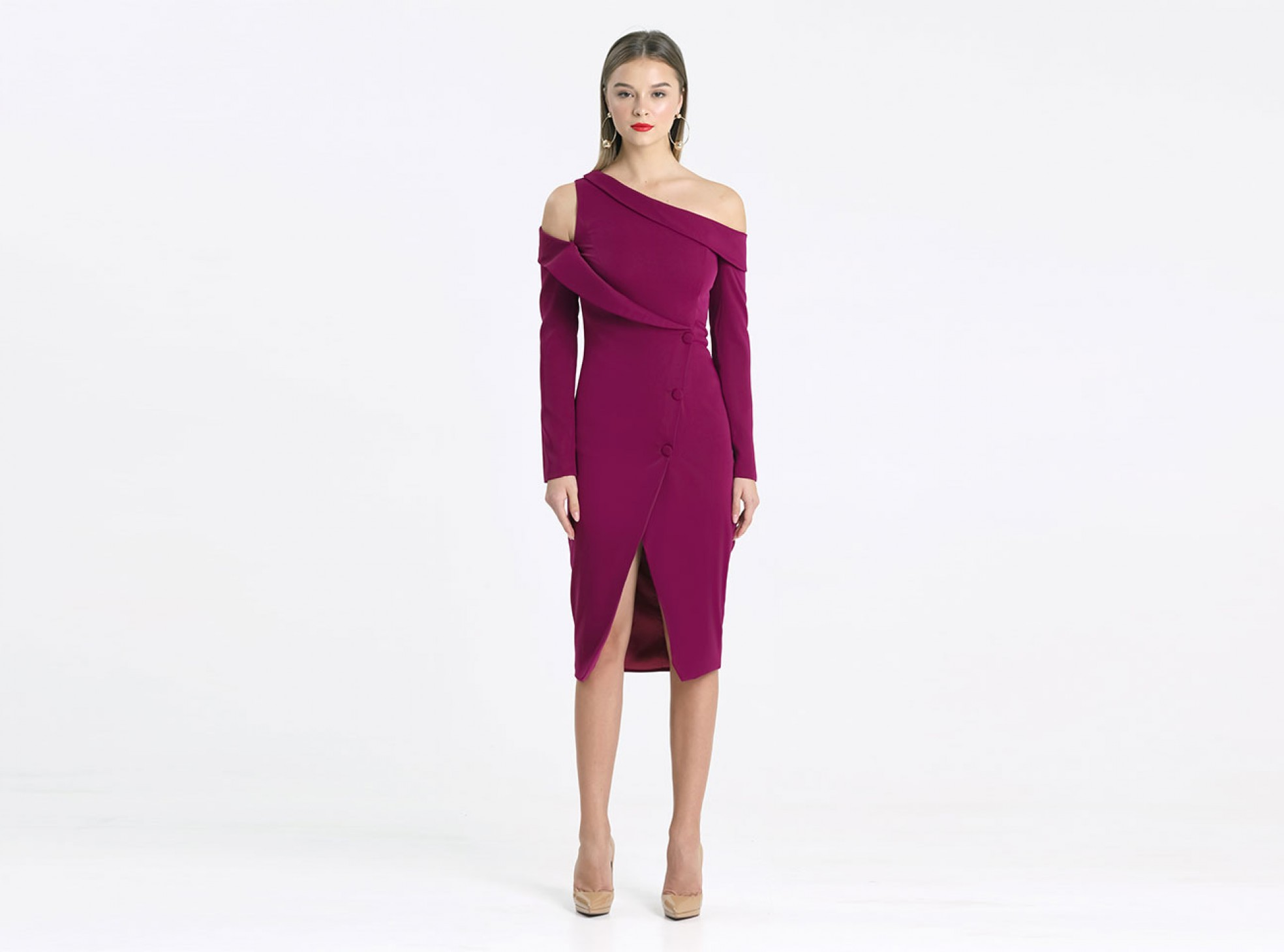 cbc6885842 off the shoulder long sleeve tuxedo midi wrap dress in purple   MAISION.COM  : Fashion Online Shop curated Indonesia - Shop Baju Branded