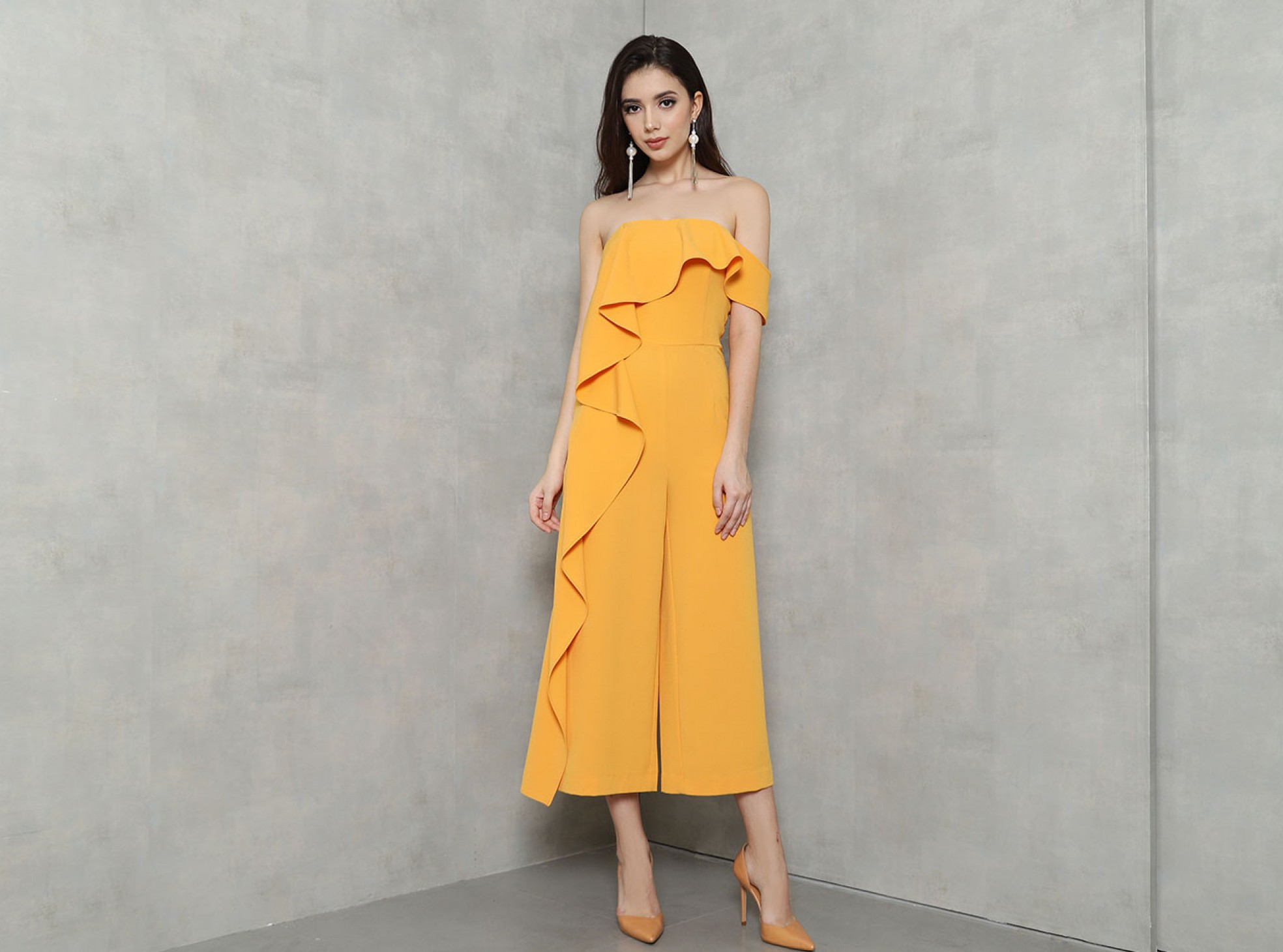 BARDOT CULOTTE JUMPSUIT IN ORANGE   MAISION.COM : Fashion