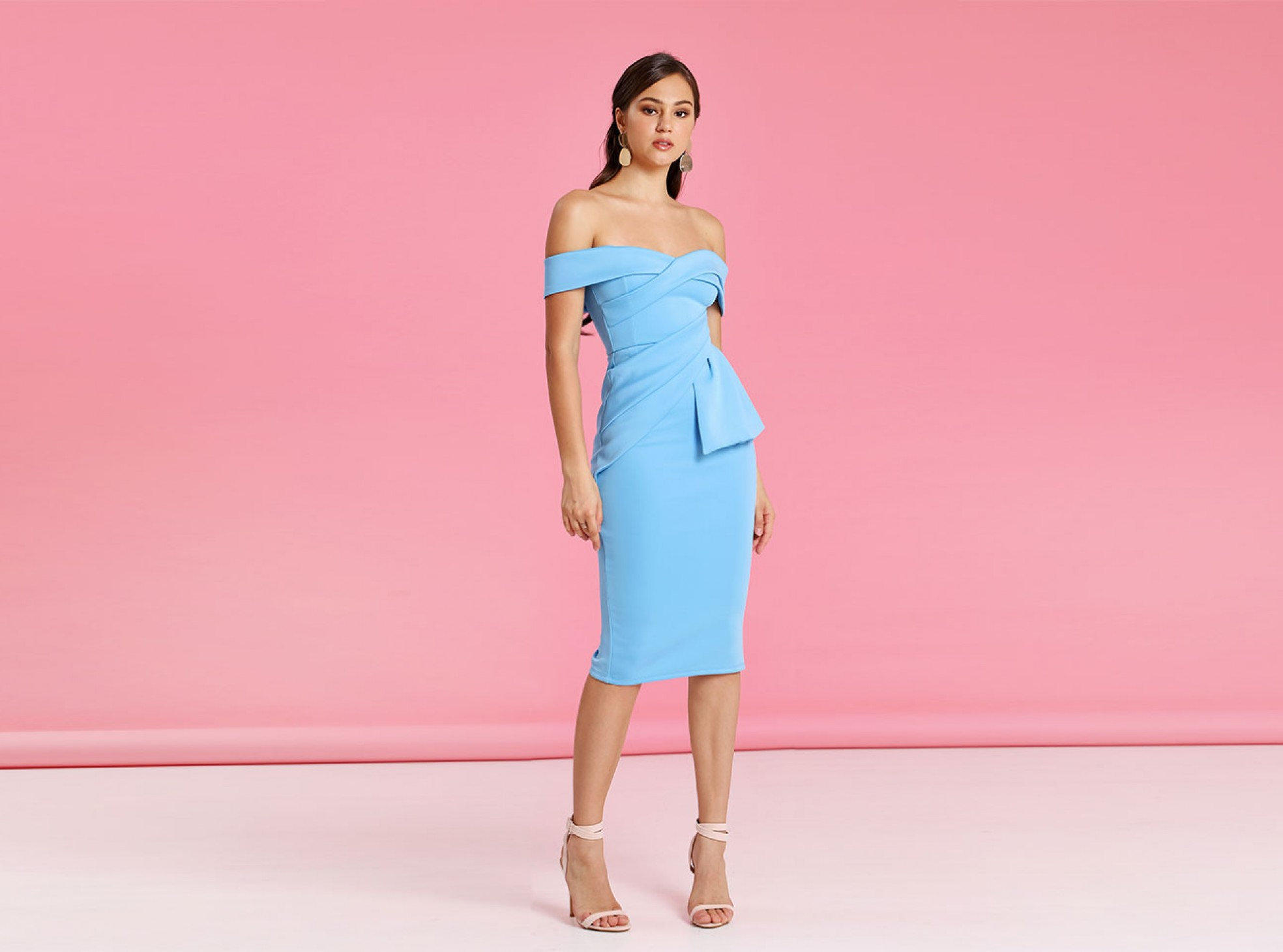 Bardot Fold Wrap Front Midi Pencil Dress - Blue