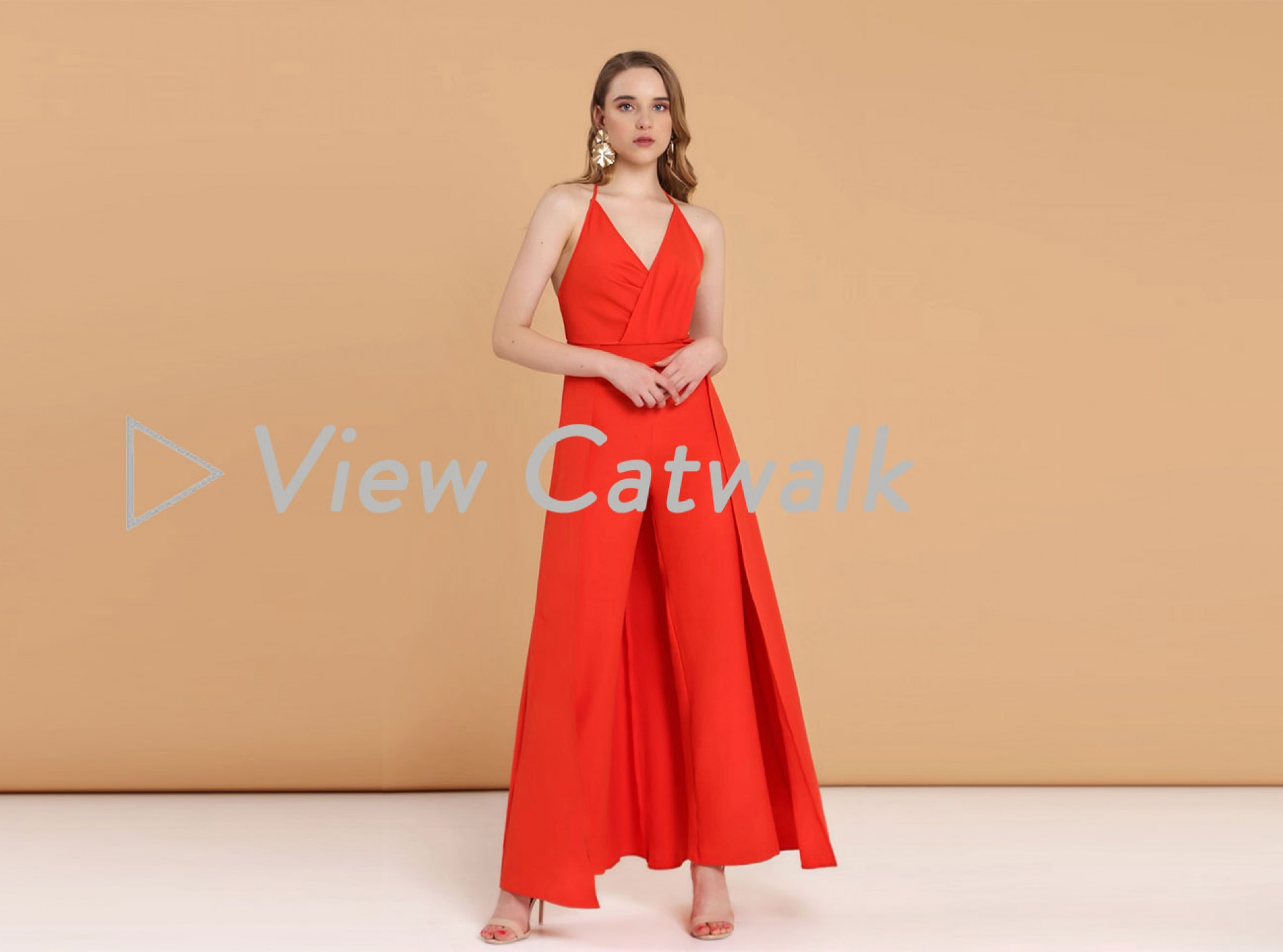 DRAPE BODICE JUMPSUIT WIDE LEG WITH OVERLAY