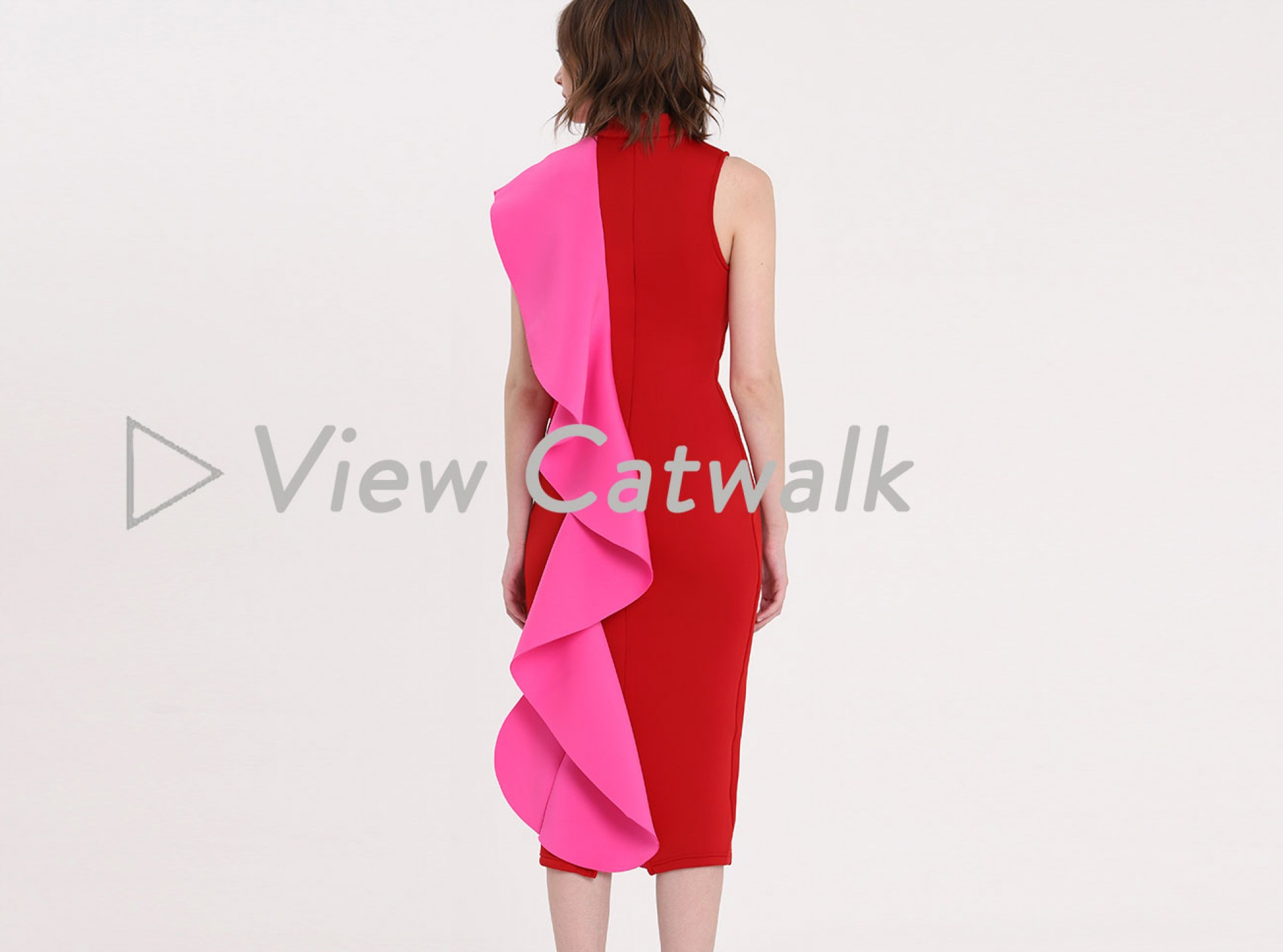 signature multi scuba frill midi dress